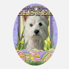 EasterEggCookiesWestHighlandTerrier Oval Ornament