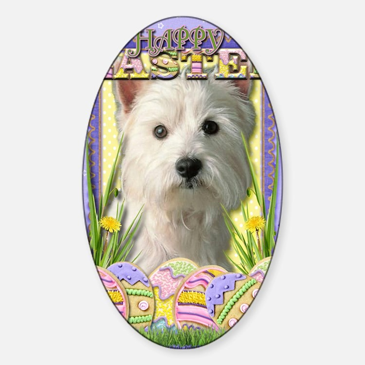 EasterEggCookiesWestHighlandTerrier Sticker (Oval)