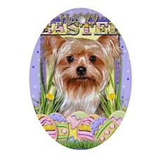 EasterEggCookiesYorkshireTerrier Oval Ornament