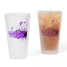 purple floral band Drinking Glass