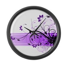 purple floral band Large Wall Clock