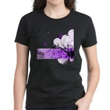 purple floral band Tee