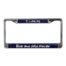 Funky Love Blue and Gold Macaw License Plate Frame