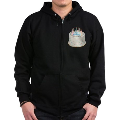 Happy Birthday Cake Zip Hoodie (dark)