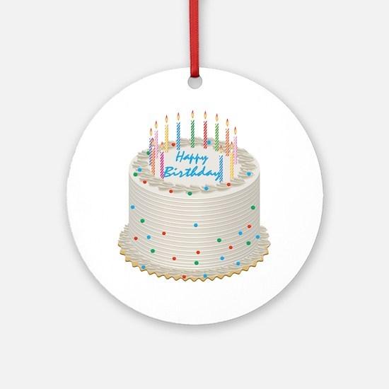 Happy Birthday Cake Round Ornament