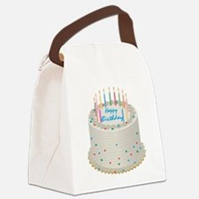 Happy Birthday Cake Canvas Lunch Bag
