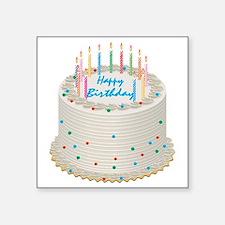 "Happy Birthday Cake Square Sticker 3"" x 3"""