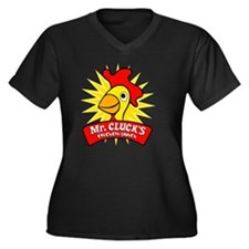 chickenshack Women's Plus Size Dark V-Neck T-Shirt