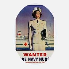 Navy Nurse Oval Ornament