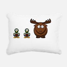 Duck Duck Moose White Rectangular Canvas Pillow