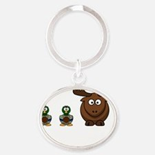 Duck Duck Moose White Oval Keychain