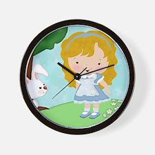 Alice_White_Rabbit Wall Clock