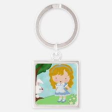 Alice_White_Rabbit Square Keychain