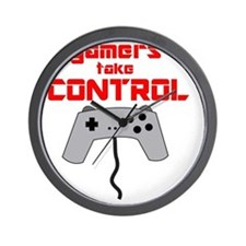 GAMERS TAKE CONTROL red Wall Clock