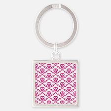 Pink White Skulls Square Keychain