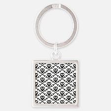 Black White Skulls Square Keychain