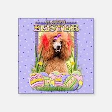 "EasterEggCookiesPoodleRedCP Square Sticker 3"" x 3"""