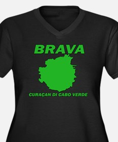 Brava Women's Plus Size Dark V-Neck T-Shirt