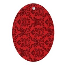 Red Damask Oval Ornament