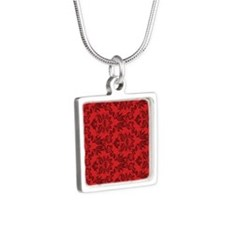 Red Damask Silver Square Necklace