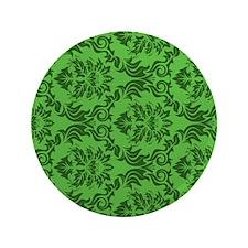 "Green Damask 3.5"" Button"