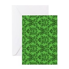 Green Damask Greeting Card