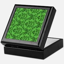 Green Damask Keepsake Box