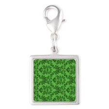 Green Damask Silver Square Charm