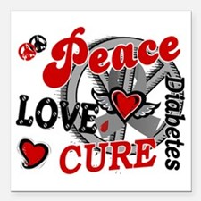 """D Peace Love Cure 2 Diab Square Car Magnet 3"""" x 3"""""""