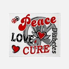 D Peace Love Cure 2 Diabetes Throw Blanket