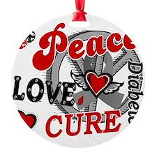 D Peace Love Cure 2 Diabetes Ornament