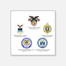 "Service Academy Logo Square Sticker 3"" x 3"""