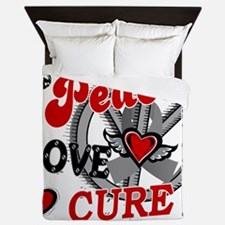 D Peace Love Cure 2 Brain Cancer Queen Duvet