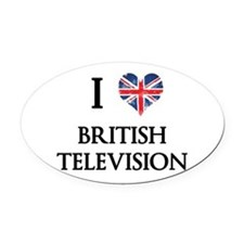 I Love British Television Oval Car Magnet