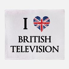 I Love British Television Throw Blanket