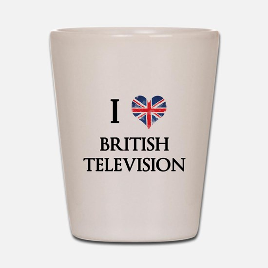 I Love British Television Shot Glass