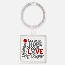 D Hope For My Daughter Brain Tumor Square Keychain