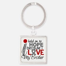 D Hope For My Brother Brain Tumor Square Keychain