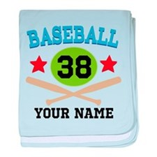 Personalized Hockey Player Number baby blanket