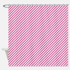Pink And White Stripes Shower Curtain
