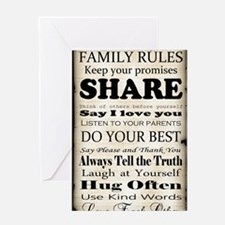 Family Rules Plaque Greeting Card