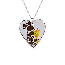 GiraffeBirthdayBoy1 Necklace Heart Charm