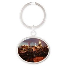 Empire State Building Night Scene Oval Keychain