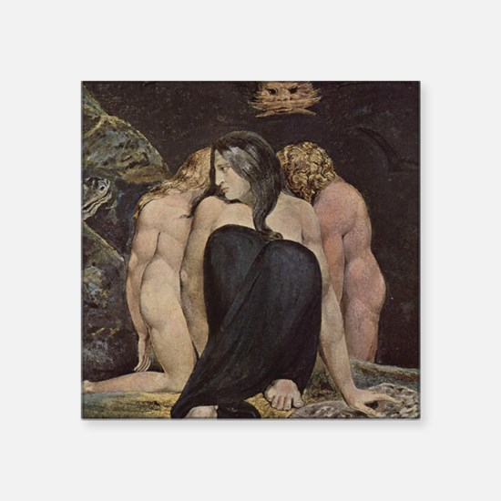 "Blake_Hecate_notecard Square Sticker 3"" x 3"""