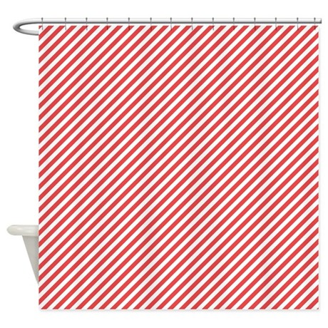 Red And White Stripes Shower Curtain By Colorfulpatterns