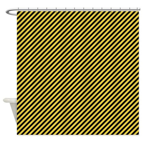 yellow and black stripes shower curtain by colorfulpatterns. Black Bedroom Furniture Sets. Home Design Ideas