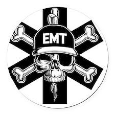 emt-skull-T Round Car Magnet