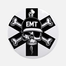 emt-skull-T Round Ornament