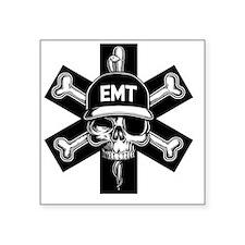 "emt-skull-T Square Sticker 3"" x 3"""