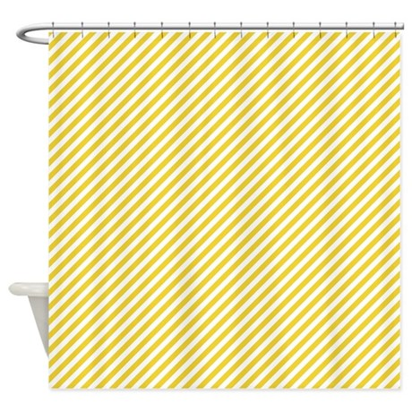 Yellow And White Stripes Shower Curtain By ColorfulPatterns